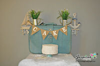 Wedding Bunting Cake Burlap Banner Hessian Vintage Retro Baby Shower Sweets Deco