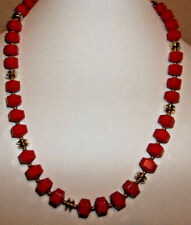"""VINTAGE RED / GOLD 24"""" FASHION NECKLACE"""