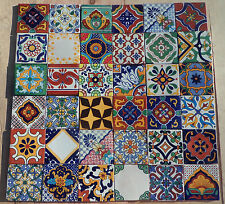 "36 ~ Talavera Mexican 4"" tile pottery mural mixed lot Geometric lead free Colors"