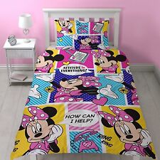 Lit Simple Minnie Mouse attitude Parure de lit patchwork pois rose violet