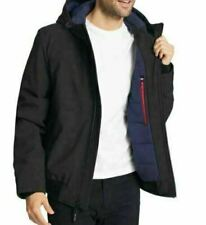 Tommy Hilfiger Mens Softshell Jacket Bomber With Hood Black NWT Sz L Fast Ship