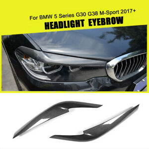 For BMW G30 G38 M-Sport 17+ Carbon Fiber Headlight Eyelid Cover Eyebrow