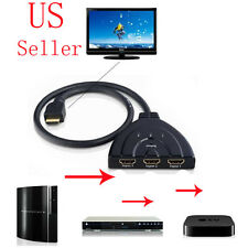 3 Port HDMI Multi Display Auto Switch Hub Box Splitter 1080P HD TV Adapter Cable