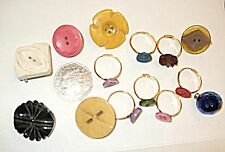 *VINTAGE COLLECTION LOT 7 LUCITE BUTTON BROOCHES 7 RINGS MADE BY ME ALL UNIQUE
