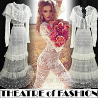 VINTAGE 70s CROCHET DRESS S M 8 10 12 6 WHITE WEDDING LACE VICTORIAN BOHO 30s