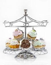 Godinger Carousel Revolving Cupcake Holder  Holds 12 Cupcakes Silver Chrome