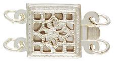 Sterling Silver .925 Square Filigree 2 Strand Box Clasp. 8.5mm. 1 Piece ~3576~