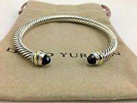 David Yurman Cable Classics Black Onyx and 14K Gold 5mm Cable Cuff Bracelet