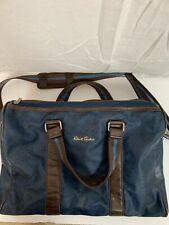 Robert Graham Small Carry On Duffel Bag Zip Closure Shoulder Strap Blue Brown