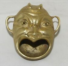 Vtg solid brass Devil's Head ashtray incense burner paperweight made in Turkey