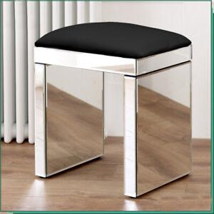 Anjohn shining Mirrored Glass Dressing Table Stool - Black Faux Leather Seat UK