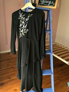 WAREHOUSE-BLACK DRESS EMBROIDERY  8 EXCELLENT CONDITION