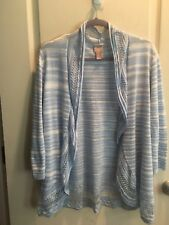 Chicos Size 2 Light Blue White 3/4 Sleeve Open Front Shrug