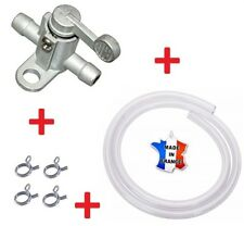 KIT ESSENCE UNIVERSEL ROBINET 6MM + DURITE 1M + COLLIER MOTO TONDEUSE MOBYLETTE