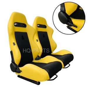 PAIR TANAKA YELLOW PVC LEATHER & BLACK SUEDE ADJUSTABLE RACING SEATS FOR FORD **