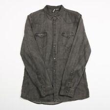 VGC Vintage H&M Popper Black Denim Shirt | Size M | Western Cowboy Jeans Retro