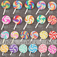 10PCS Mixed Cartoon Lollipop Polymer Clay Flatback Cabochon For Craft Decoration