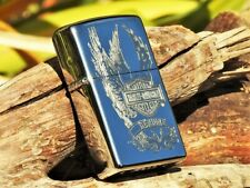 Zippo Lighter - Harley Davidson - Eagle Wings - Bar and Shield - Engraved