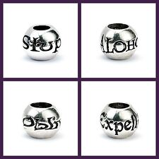 New Official Harry Potter Silver Plated Spell Bead Charm Set (Pack of 4 Beads)