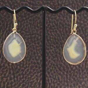 Natural Light Lemon Agate Slice 24k Gold Plated Drop Dangle Earrings For Women