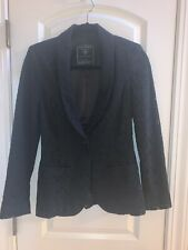Guess Black Lace Jacket Blazer With Satin Lining Size Small