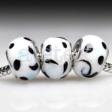 5pcs Hot Silver Murano Glass Lampwork Beads Fit European Bracelet LB0075