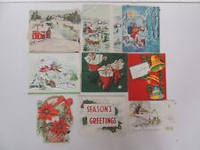 9 Old Christmas holiday Greeting Card lot textured glitter folding vintage