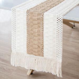 Lace Macrame Table Runner w/ Tassels Boho Wedding Farmhouse Home Table Decor