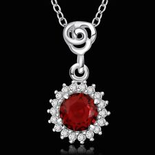 925 Sterling Silver Necklace Pendant Red Zirconia B3
