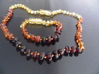 GENUINE BALTIC AMBER BRACELET / ANKLET & NECKLACE SET  ( bracelets  14-18 cm )