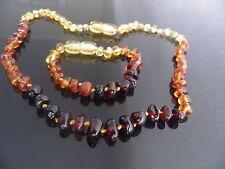GENUINE BALTIC AMBER BRACELET / ANKLET & NECKLACE SET  ( bracelets  14-18 cm )