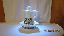 Vintage Rare Blue and White Floral Pattern Avon Bowl and Pitcher w/Stopper