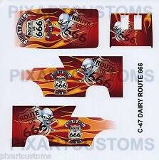 C-47 FOR HOT WHEELS CUSTOM DAIRY DELIVERY ROUTE 666 WATERSLIDE DECAL SET 1:64
