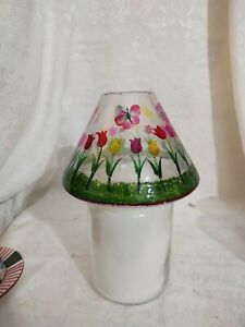 Crackle Glass Tulip Themed Candle Shade - Fits Yankee Candle Lg or Med Jar - EUC
