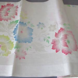 "Vintage OLD BLEACH Damask Tablecloth + 8 Napkins PASTEL Flowers 72""X54"" * Unused"