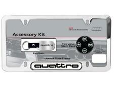 Audi Quattro License Plate Frame Kit w/ Key Chain & Valve Caps-Makes great gift!