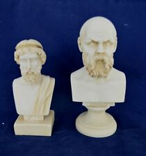 Plato and Socrates sculpture busts statue ancient Greek philosophers aged set