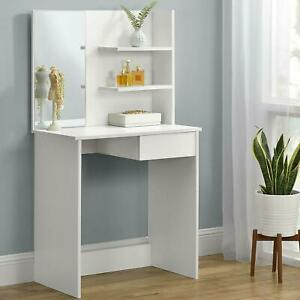 Dressing, Cosmetic Table Vanity Set Makeup Desk with Mirror & Drawers Dresser