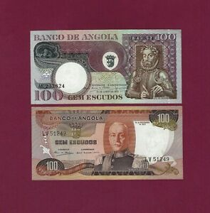 PORTUGAL  ANGOLA SET 2 NOTES 100 ESCUDOS 1972 AND 1973 P-101 AND P-106 UNC