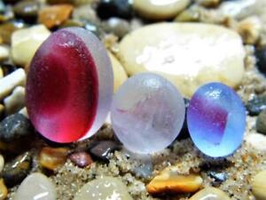 3 Multi S-M/L Pink Exqisite Egg like 6g JQ RARE Genuine Seaham English Sea Glass