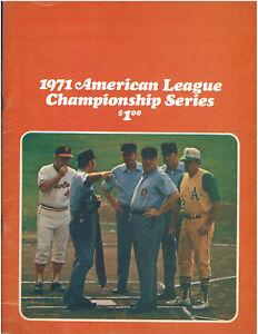 1971 ALCS Game 2 Baseball Program OAKLAND A'S vs. Baltimore Orioles Scored