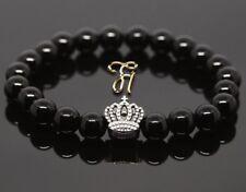 Onyx Black Shiny 8mm Bracelet Pearl Bracelet Silver Coated Crown
