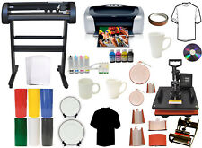 8 in1 Combo Heat Press,500g Vinyl Cutter Plotter,Printer,CISS,Mug Ink Kit Bundle
