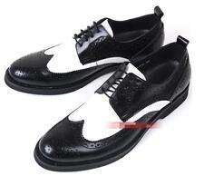 US 9.5 Black Men Genuine Leather Wingtip Carved Lace-up Formal Dress Shoes Yoooc