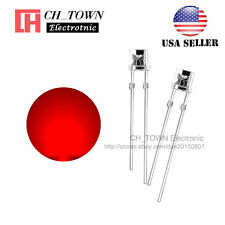 100PCS 5mm Flat Top Water Clear Red Light Wide Angle 120Deg LED Diodes USA
