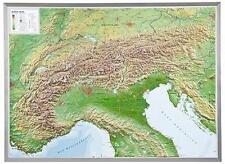 Vrai 3D Carte Du Relief Alpes Cadre Aluminium Format Paysage 77x57cm #100552P