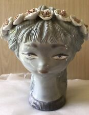LARGE LLADRO PORCELAIN GIRLS HEAD BASKET WITH FLORAL HEAD BAND