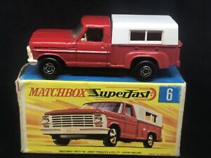 Matchbox MB6 A10 Ford Pick-Up (White grille/black base/wide wheels) w G Type Box