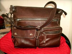 Fossil Sutter Very Nice Large Brown Leather Crossbody Lots of Storage EUC! Nice!