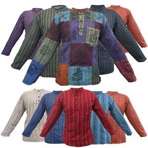 Hippy Patchwork Men Women 100%Cotton Boho Yoga Top Festival Stripe Vintage Shirt